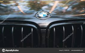 bmw vintage logo kazan russia july 2017 the hood of the automobile bmw with sign