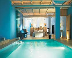 sharp bedroom with pool mykonos blu resort fondos de pantalla