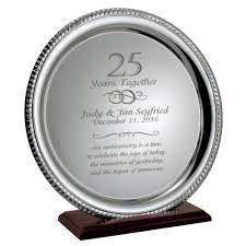 engraved silver platter silver 25th anniversary personalized plate on wood base