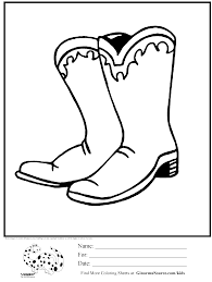 cowboy boots with spurs coloring page