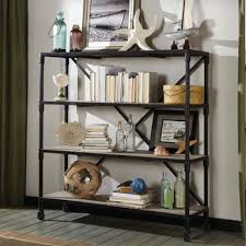Metal Bookcase Salvaged Wood And Metal X Bookcase With Wheels Inspiring New