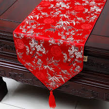 Beaded Table Linens - extra long 120inch plum bamboo table runner fashion luxury decor