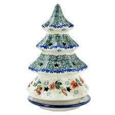 polish pottery handmade 8 u201d christmas tree luminary with star cutouts p