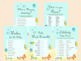 baby showergames the sea baby shower package magical printable