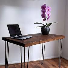 industrial hairpin leg desk retro rustic industrial solid wood desk metal 3 prong hairpin legs