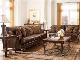 Brown Themed Living Room by Entrancing Design Ideas Using Rectangular Brown Wooden Tables And