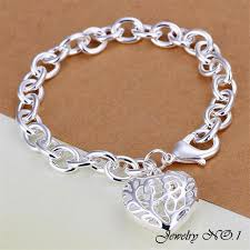 bracelet with hearts images Silver hearts crude bracelet new jewelry jpg
