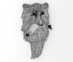 3d print model bear with fish bas relief cgtrader