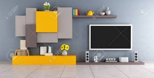 Living Room Tv Set Modern Lounge With Colorful Wall Unit And Tv Set 3d Rendering