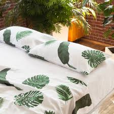 tropical leaves white linen top sheet pure linen luxury bed