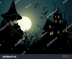 halloween background cartoon halloween background wich hounted house stock vector 61033792