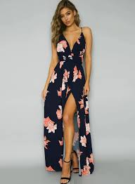 floral dresses a line backless floral printed high slit maxi dress novashe