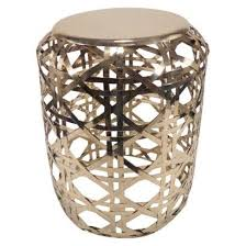 Metal Accent Table Gold Basket Weave Metal Accent Table