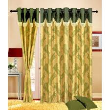 online handloomhub green leaves set of 4 fancy curtains with 2