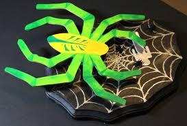 halloween wall art handmade bright yellow green spider eating man in spider web