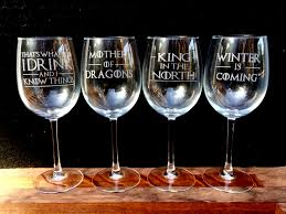 Wine Glass Without Stem Set Of 4 Wine Glasses Etched Game Of Thrones Quotes I Drink