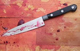 a bloodied wooden butcher s block with a blood stained knife a bloodied wooden butcher s block with a blood stained knife stock photo 5243253