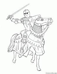 coloring page equestrian knight