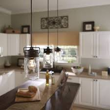 clear glass pendant lights for kitchen island allen roth vallymede aged bronze country cottage mini clear