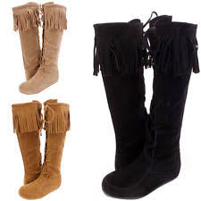 womens boots on ebay knee high fringe boots ebay