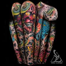 hannya green snake and pink and blue chrysanth by ben lucas on