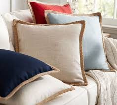 Accent Pillows For Sofa Jute Braid Pillow Cover Pottery Barn