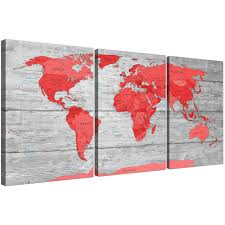Large Map Of The World Large Red Grey Map Of The World Atlas Canvas Wall Art Print Split