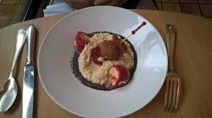 au f駑inin cuisine risotto chorizo à l encre de seiche cromesquis de poisson et