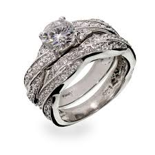 silver wedding ring sets silver twisted cz wedding ring set s addiction