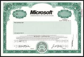 microsoft stock microsoft specimen stock 1990 specimen stock certificate