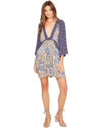 free people drop it low plaid mini dress in blue lyst