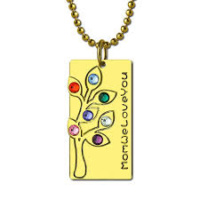 personalized family necklace personalized birthstone family tree necklace gold color engraved bar