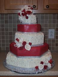 red white and blingy hexagon wedding cake cakecentral com