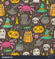cute tile background halloween cartoon sketch happy halloween holiday pattern stock vector