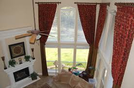 Curtain Rods For Inside Window Frame Red Pattern Curtains Having Tie Back And Bronze Curtains Rod Plus