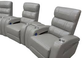 home theater recliner chairs bravo 5 piece power reclining home theater sectional gray