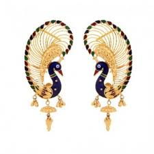 ear cuffs online india ear cuff enamelled peacock ear cuffs online shopping india