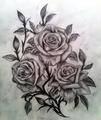 realistic black and grey roses would make a great tattoo minus