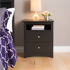 Night Tables Prepac Fremont 2 Drawer Tall Night Stand With Open Shelf