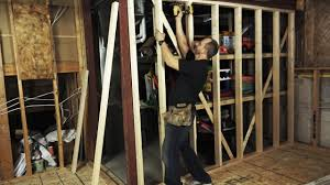First Home Renovation Wall Wood by How To Build An Interior Wall Under A Steel Beam Youtube