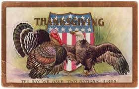 1909 vintage thanksgiving postcard two national birds stock