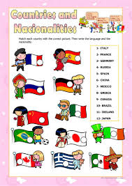108 free esl countries and nationalities worksheets