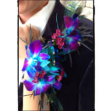 Corsage And Boutonniere For Prom Blue Orchid U0026 Peacock Feather Corsage U0026 Boutonniere Madison