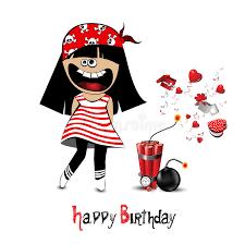 happy birthday card a child pirate stock illustration image