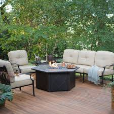 Fire Pit Patio Furniture Sets by Belham Living Palazetto Sofa Propane Fire Pit Chat Set With