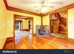 empty beautiful living room wood burning stock photo 163102340