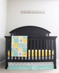 Grey And Yellow Crib Bedding Custom Crib Bedding Mint Grey And Yellow Baby Bedding Crib