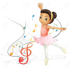 illustration of a dancing with musical notes on a white