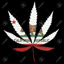 Pot Flag Marijuana Or Cannabis Leaf Painted With The California State