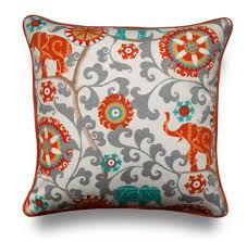 indoor outdoor orange turquoise elephant pillow cover onehappypillow